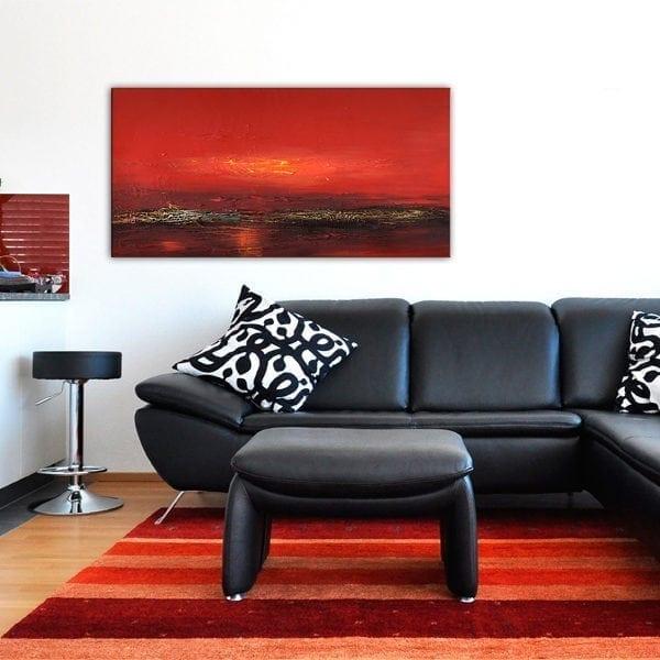 Handmålad tavla - Röd solnedgång över havet - Etavlor.se 0a10155324dd4
